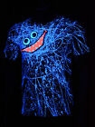 "Schwarzlicht T-Shirt Neon ""BLUE SCRIBBLE FACE UNISEX BLACK"" Party Festival"
