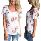 Women Comfort Long Sleeve Floral Printer Casual Tops Crew Neck T-shirt Blouse