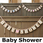 Personalised Baby Shower BANNER boy girl pink blue lilac decorations bunting