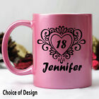 18th Birthday Pink Coffee Mug - Swirl - Add a Name & Message