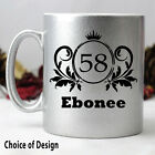 Metallic Silver Birthday Coffee Mug - Any Age - Add a Name & Message