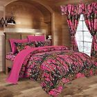 "12 pc CAMO Sheets,Comforter & Curtains  ""THE WOODS"" King BEDDING SET  10 colors"