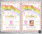 UNICORN INVITATION INVITE BIRTHDAY CARD PINK GOLD RAINBOW 1ST FIRST PARTY GOLD