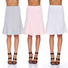 Vintage Women Stretch High Waist Plain Skater Flared Pleated Long Skirt Dress