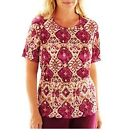 Alfred Dunner Womens Top circle oaks medallion accordion size PS PM PL NEW