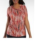 St Johns Bay Womens Plus Top ring neck red combo cotton modal size 1X NEW
