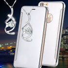 Luxury Mirror View Glossy Reflective Flip Silver Case For iphone 6s Plus{bW307
