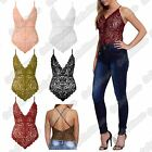 New Ladies Rose Full Floral Lace Strappy V Neck Cross Back Leotard Stretch Top