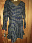 Capri blue & grey long sleeved textured cotton tunic V neck size 12