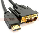 HDMI Male to DVI-D Male Cable 1.5ft 3ft 6ft 10ft 25ft 50ft Lot HDMI-DVI DVI HDTV