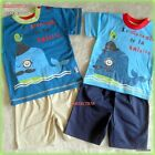 BABY BOY SHORTS & T-SHIRT TOP SET OUTFIT-6/12-12/18-18/24 MONTHS- 2 COLOURS-NEW