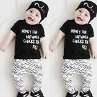 Infant Newborn Baby Boy Girls Kids Cotton T-shirt +Pants Clothes Outfits Sets WR
