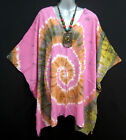 New Pink Tie Dye Top Blouse Tunic Caftan Poncho Batwing SwimsuitCover XL 1X 2X