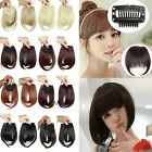 UK Real Thick Straight Bang Clip in on Fringe Hair Extensions 2 Clips Hairpiece