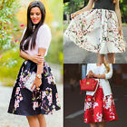 Retro Women High Waist Waistband Skater Flared Pleated Swing Long Skirt Dress