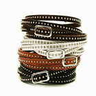 New Fashion Women Men Leather Wrap Wristband Cuff Punk Rivet Bracelet Bangle