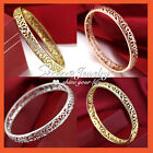 24K GOLD FILLED ANTIQUE FILIGREE SOLID LADY GIRL ROUND BAND GOLF BANGLE BRACELET