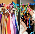20Pcs Twirling Streamers Wedding Favor Ribbon Sticks/Wands With Bells,free shipp