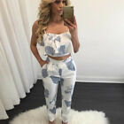 Women 2 piece Outfit Spaghetti Strap Crop Top Jumpsuit Playsuit Ladies Pants Set