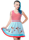 Sourpuss Day At The Shore Dress Tattooed Diver Print Stripped Top vintage 20's