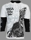 MMA ELITE Mens 2fer THERMAL HOODIE T-Shirt SULLEN SKULL Biker UFC Affliction $48