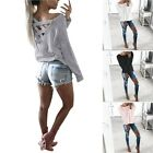 Fashion Casual Women Loose Pullover T Shirt Long Sleeve Cotton Tops Girls Blouse