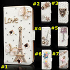 Magnetic Bling Crystal Design Rhinestone PU Leather Wallet Diamond Phone Case #E