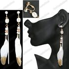 """CLIP ON 5""""long vintage deco GOLD TIP WHITE FEATHERS shell glass bead EARRINGS"""