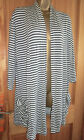 Grey and white stripe jersey cardigan top with ruched pockets size L XL 16 18