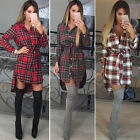 Womens Long Sleeve Plaid Shirt Top Ladies Party Dress Romper Jumper Blouse New
