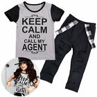Baby Kids Children Girls Letter T-shirts Tops Slitted Long Pants Clothes Outfits