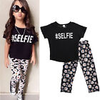 2PCS Toddler Kids Girl Outfit Set Black T-shirt Top + Flower Long Bottom Clothes