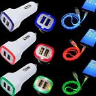 LED Car Charger + Micro USB Data Cable for Huawei GX8 G7 Plus Mate S 8 P9Lite P8