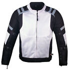 Mens Storm Mesh Summer Armored Reflective Waterproof White Motorcycle Jacket