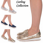 Ladies Womens Flatform Loafers Low Wedge Slip On Glitter Fashion Star Pump Shoe