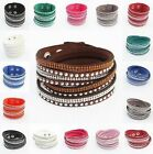 Fashion Crystals 2wrap Around PU Leather Adjustable Bracelet New