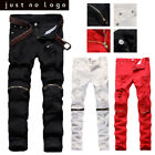Mens Red White Skinny Slim Biker Pants Knee Zipper Distressed Ripped Denim Jeans