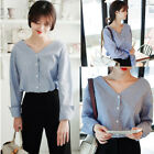 Fashion Women Long Sleeve Stripe Shirts V-neck Loose Tops Casual Button Blouses