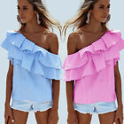 New Summer Women T-Shirt Striped WideBoat Oblique Neck Shoulder Blouse Tops