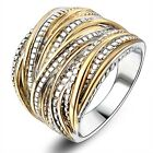 Two-Tone Punk Rock Statement Layers Coxktail Ring 18K Gold Plated Gift R1643