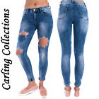 Womens Ladies Distressed BLUE Stretch Ripped High Waist Denim Pants Jeans 6-14