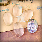 4/6/8pcs DIY Glass Cabochon Pendant Flat Back Oval Clear Cameo Jewelry Making