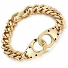 8.5* Mens Stainless Steel Handcuff Cuban Curb Link Chain Bracelet + Box #B307