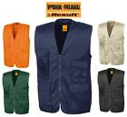 Result Mens Safari Waistcoat Gilet - Tough Heavy Duty Strong Lasting- 11 Pockets