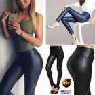Women HOT High Waisted Faux Stretch Skinny/Matte Leather Pants Leggings Trousers