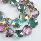 2pcs 20X11mm Faceted Flower Crystal Glass Loose Spacer Beads Jewelry Findings