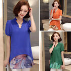 Plus Size Women's Short Sleeve Chiffon Shirts Fashion V-neck Tops Casual Blouses