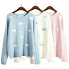 women's harajuku embroidery cloud Printed pullover vintage sweater Sweater Shirt