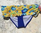 Juniors Plus Bikini Bottom Separate with Ruffle Yellow and Blue Floral Joe Boxer