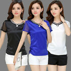New Fashion Women Short Sleeve Shirts V-neck Mesh Splice Tops Casual Slim Blouse